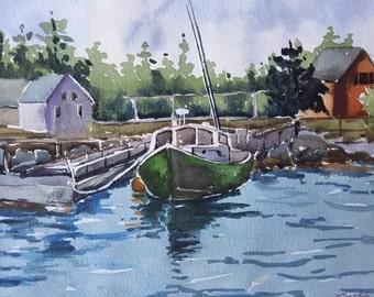 Green boat - Maine