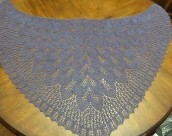 Purple Lace Knitted Shawl