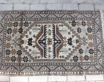 Vintage Turkish Rugs, Yagcibedir Natural Colours, Handmade Rug, Handwoven Carpet in Brown and Ivory, Medium Size Rug, Distressed Rug