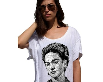 FRIDA KAHLO Geometric - 80s Crop Top Ladies Watercolor Print Tshirt - Painting sublimation image tshirt colorful designs