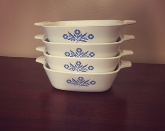 Vintage Corning Ware Blue Cornflower Petites (P41B) Set of 4