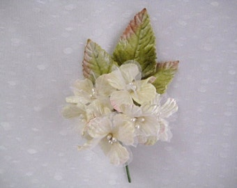 Ivory flower posie Velvet and organza Delphinium For Millinery, Brooches, Shabby Chic  jewellery and Wedding corsage
