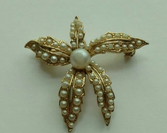 Gold and Pearl Vintage Flower Brooch