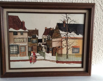"""Framed & Signed Original H. Hargrove """"General Store"""" oil painting"""