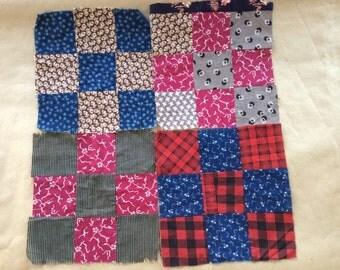 4 Genuine quilters squares Appalacia region, hand-sewn squares.