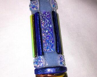 Fused Glass Mezuzah in blue Z7