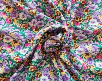 Vintage Cotton/ Mix Dress Fabric - 1960's/1970's - Lilac, pink and straw flowers on a dark green background - priced by the metre - Unused