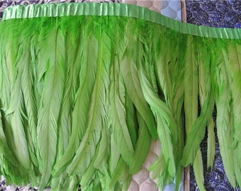 rooster hackle feather fringe trim 5 yards of lime green color for sewing