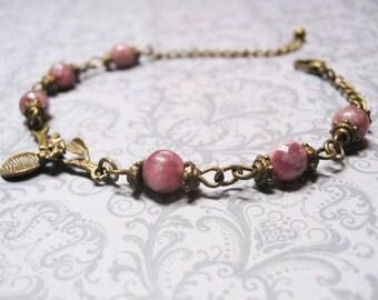 Pink Tourmaline Bracelet-Vintage Bracelet-Gemstone Bracelet-Tourmaline Bracelet-Romantic Bracelet-Heart Chakra Bracelet-Gemstone Jewelry