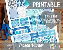 Winter Printable Planner Stickers, Erin Condren Planner Stickers, Weekly Planner Stickers, Winter Printable Stickers, SILHOUETTE / CRICUT