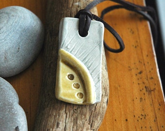 Grey and yellow ceramic pendant necklace