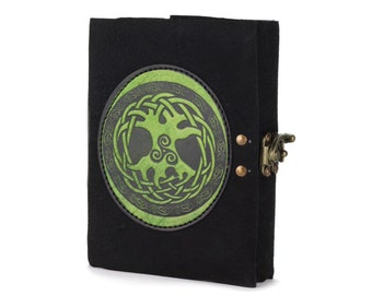 Free Shipping! Soft Black Genuine Suede Leather Journal - Tree of Life