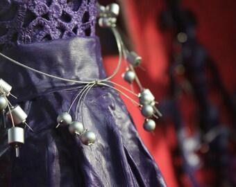 Silver aluminium metallic necklace   Handmade