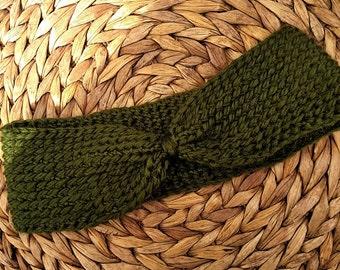 Crocheted Headband Earwarmer in Forest Green Alpaca Wool and Acrylic