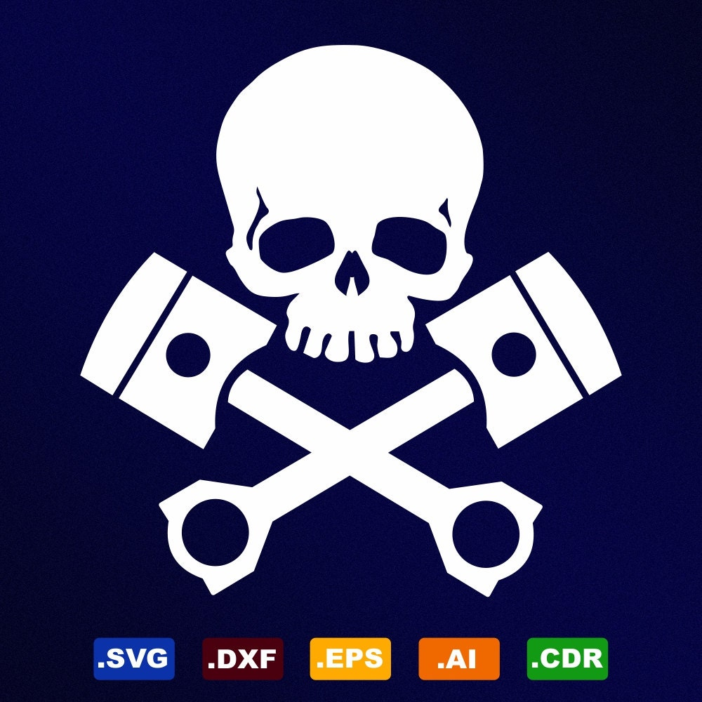 Skull Pistons Svg Dxf Eps Ai Cdr Vector Files For