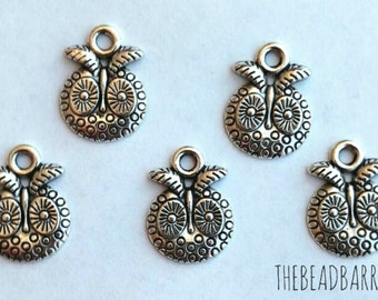 Tibetan Silver Owl head charm 10pc lot Jewelry making supply lot silver charms Bracelet charms Necklace charms Beading and craft supplies