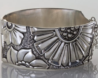 Big Blossoms Adorn the Surface of this Cuff Bracelet, Hinged with Handmade Pin Closure, in Sterling Silver or Bronze