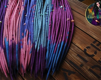 Set of wool DE dreads double ended pink purple blue dreads