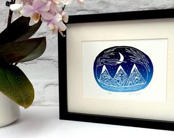 Mountain and moon gradient lino print. Lino cut. Lino print. Unframed lino print. Moon lino print.
