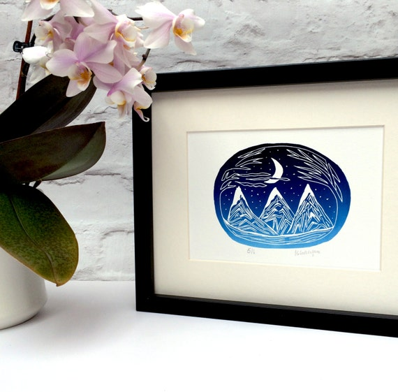 Mountain and moon gradient lino print. Lino cut. Lino print. Unframed lino print. Moon lino print. Winter print. Christmas lino print