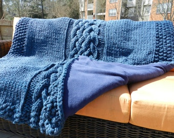 MADE TO ORDER- Cable knit throw w/ fleece backing -- Cape cod blue