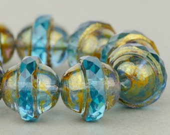 Saturn Beads - Saucer Beads - Czech Glass Beads - Aqua Blue Transparent with Antiqued Bronze Finish - 10x12mm Beads - 5 or 10 Beads