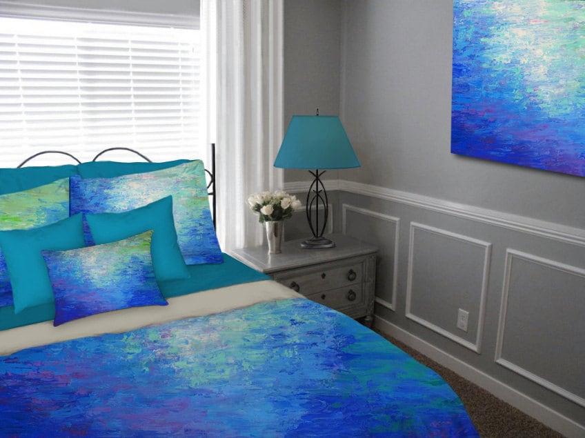 Cobalt blue duvet cover teal purple jewel tones bedding for Purple teal bedroom
