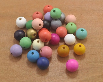 100pcs Colorful Round Wooden Beads,Geometric Wood Beads 20mm--Painted Wood Beads,Modern Necklace,Ball Beads,Jewelry Supply