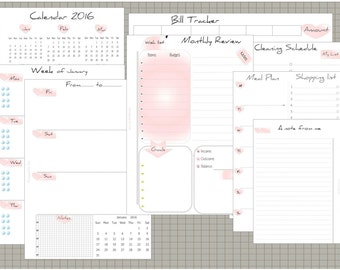 """Planner refill 2017 A5 size """" Baby Pink  """" Set"""