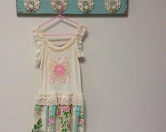 Size 6 Cream Shabby Chic Girls Dress