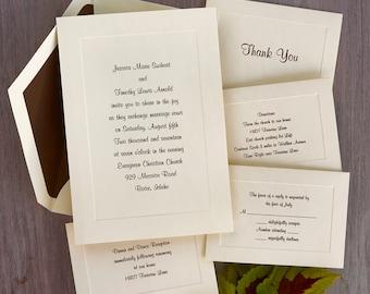 Classic Embossed Border Ecru Invitations - Formal Wedding Set - Thermography Wedding Invite Suite - AV1732