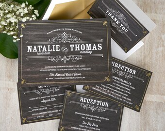 Helena Wedding Invitations  - Chalkboard Wedding Invite - Rustic Woodgrain Wedding Invite - Vintage Digital Wedding Invitations- AV4255