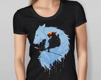 Women's Short Sleeve Black Princess Mononoke Wolf S M L XL XXL T-Shirt