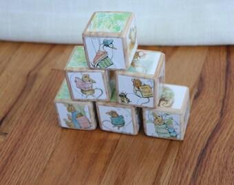 6 Beatrix Potter Character Wooden Blocks