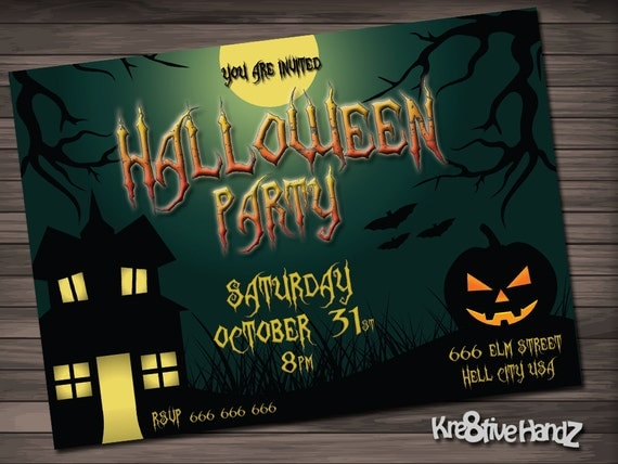 Halloween Party Invitation Personalized Printable Invite for your theme party