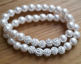 white glass beads and shamballa bracelet (x2)