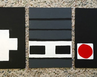 Nintendo Controller three piece painting