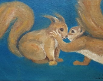 Oil painting 'Tenderness',  cute squirrels, animals, nature