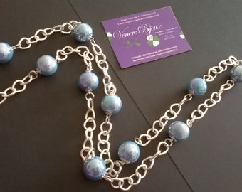 Blue ceramic balls necklace