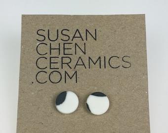 Black and white porcelain earrings