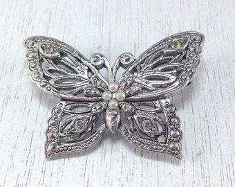 Stunning Signed Estate Modern Avon Butterfly Silver Tone Brooch