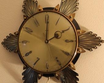 Vintage Metamec starburst clock / wall clock / 1950s / plug in / mid century / modern