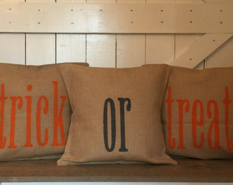 Trick or treat pillows, Halloween pillows, Burlap pillows
