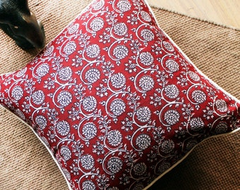 Deep Red Pillow Cover , Hand Block Printed Cushion Cover , Couch Pillow , Decorative Pillow Cover , Throw Pillow , Indian Print , Home Decor