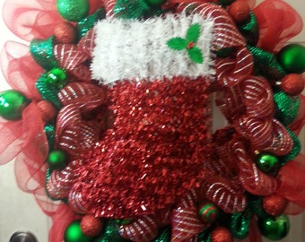 Christmas Stocking Wreath 24 inches