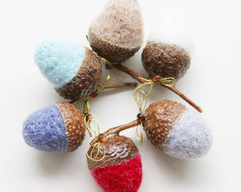Hand Felted Acorns with Swarovski Crystal- Set of 6- Wool Accessories- LittleMiniTitchy™ - UK