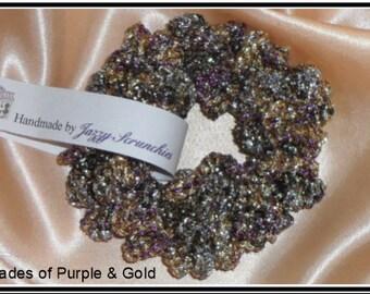 Purple and Gold Scrunchie, metallic scrunchie, metal look scrunchie, SPARKLE scrunchie