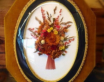 """Vintage Domed Dried Flower Bouquet Wall Hanging from Belgium 14.5"""" H"""