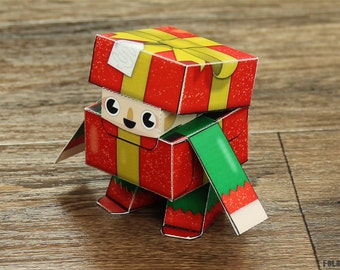 Christmas Box Elf Paper Toy