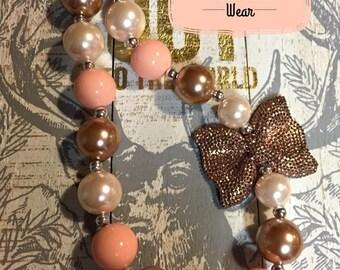 Peach/Cream/Gold/Rose Gold/Pearl Bubblegum necklace/Fall/Christmas/Rhinestone